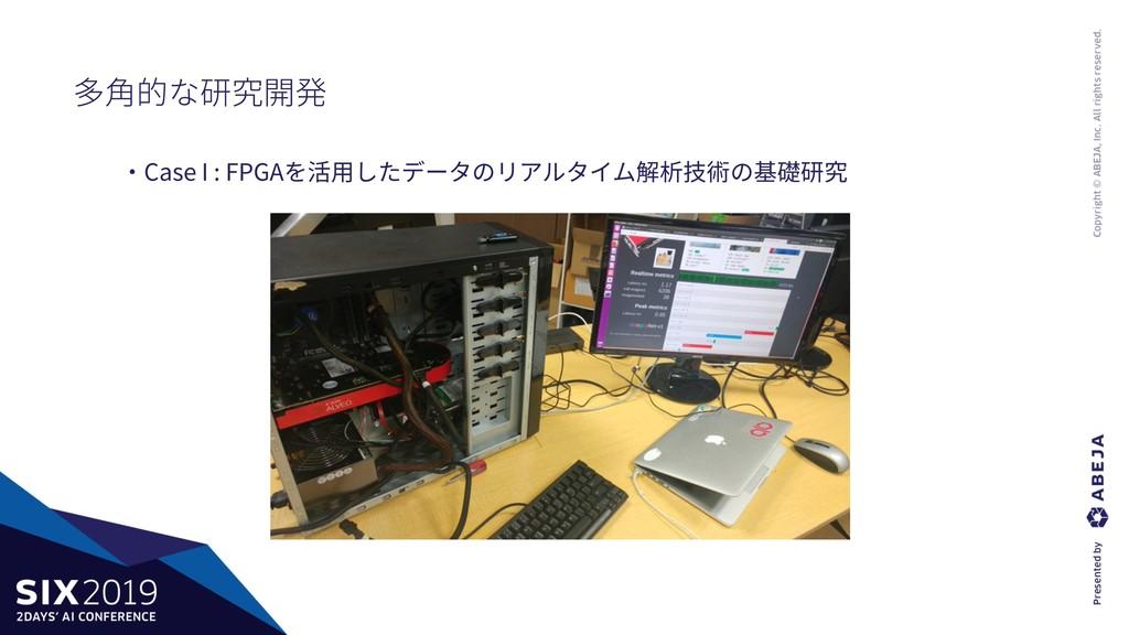 ・Case I : FPGAを活⽤したデータのリアルタイム解析技術の基礎研究 多⾓的な研究開発