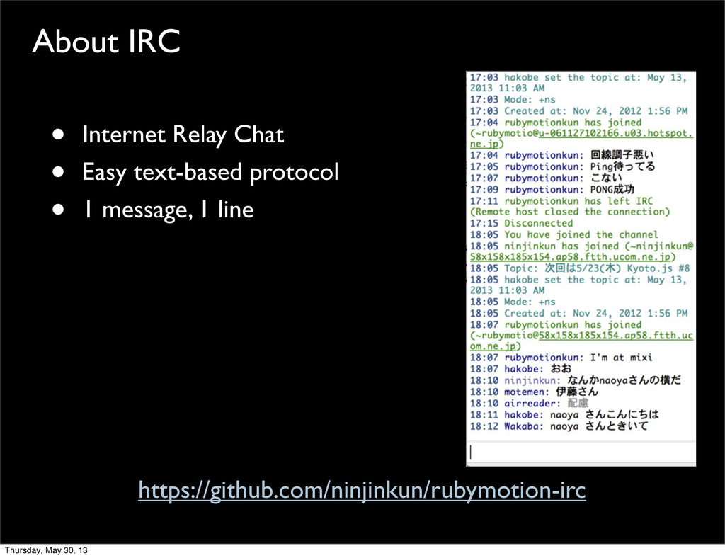 About IRC • Internet Relay Chat • Easy text-bas...