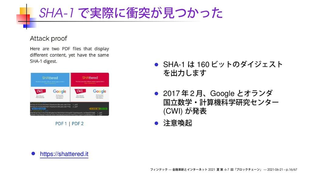 SHA-1 https://shattered.it SHA-1 160 2017 2 Goo...