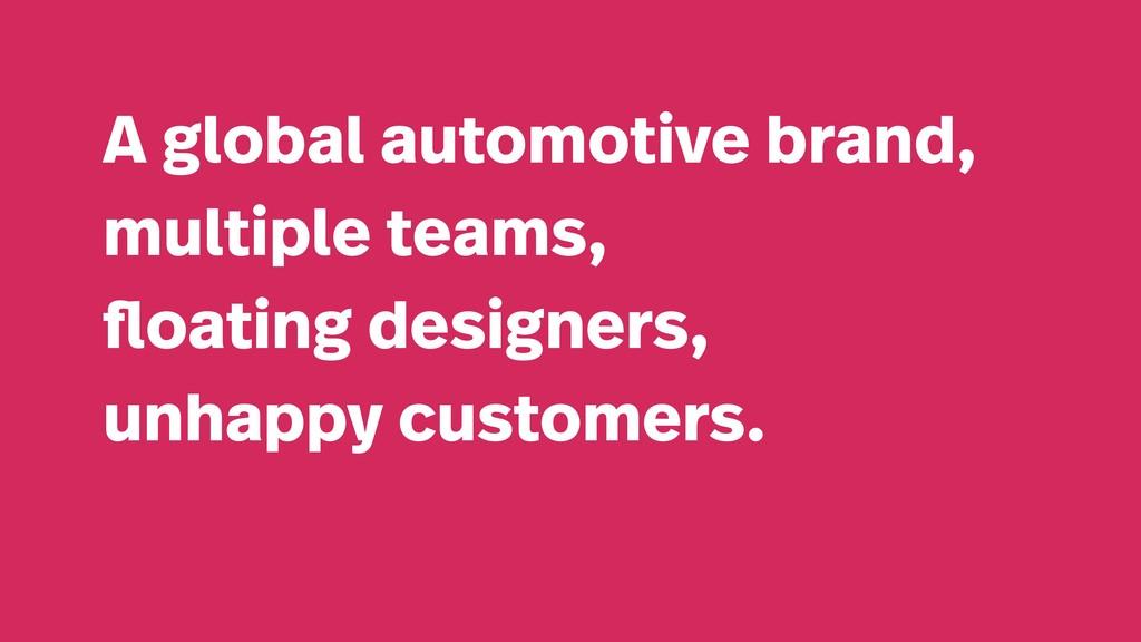A global automotive brand, multiple teams, floa...