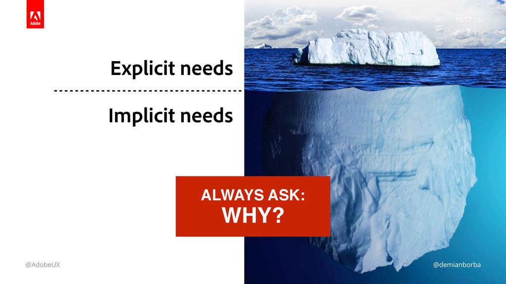 10.17.15 @AdobeUX @demianborba Explicit needs ...