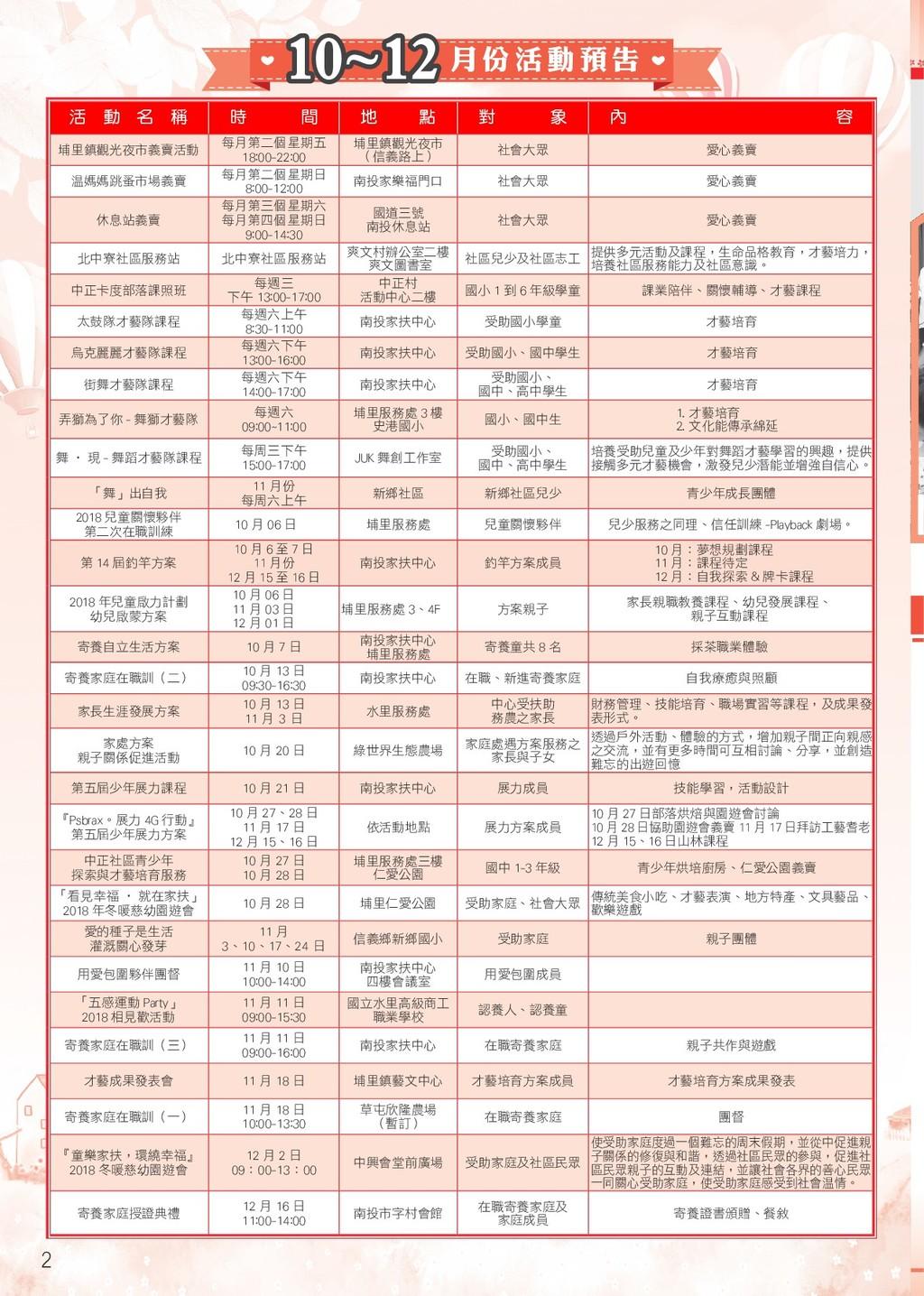 季 刊 2 10~12 月 份 活 動 預 告 活 動 名 稱 時 間 地 點 對 象 內 容...