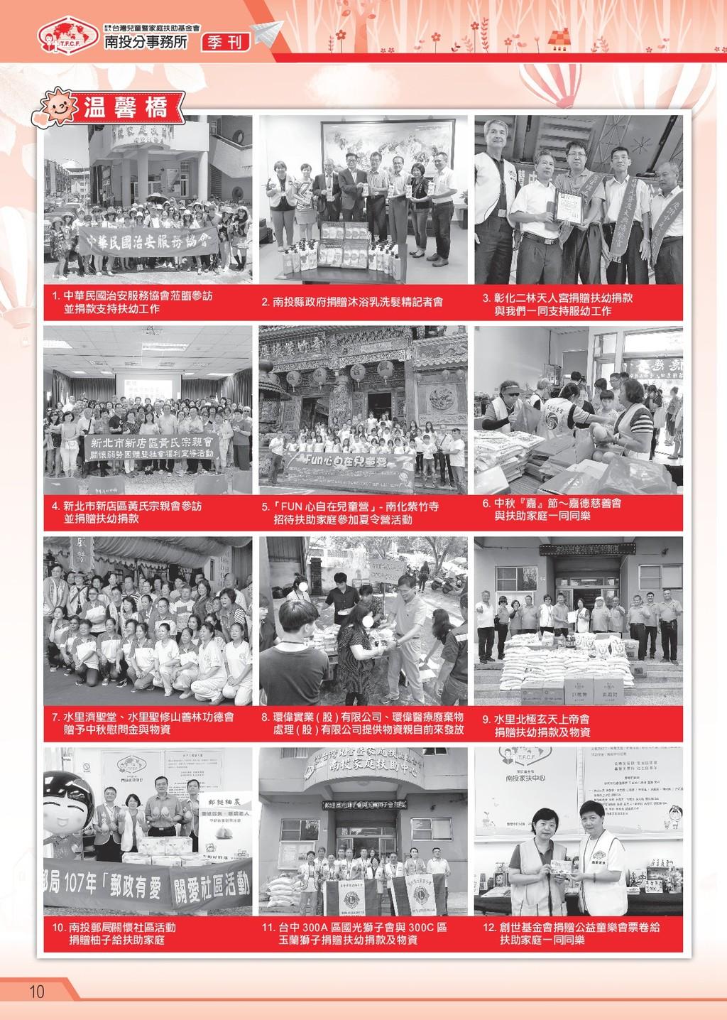 季 刊 10 1. 中華民國治安服務協會蒞臨參訪 並捐款支持扶幼工作 7. 水里濟聖堂、水里聖...