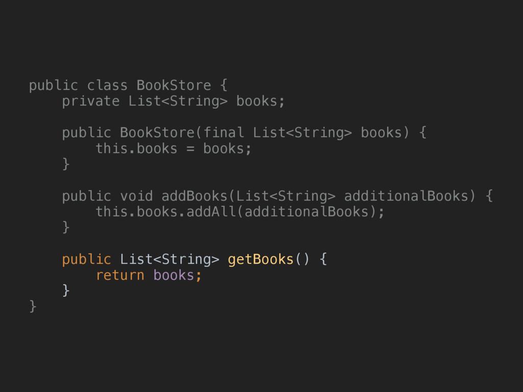 public class BookStore { private List<String> ...