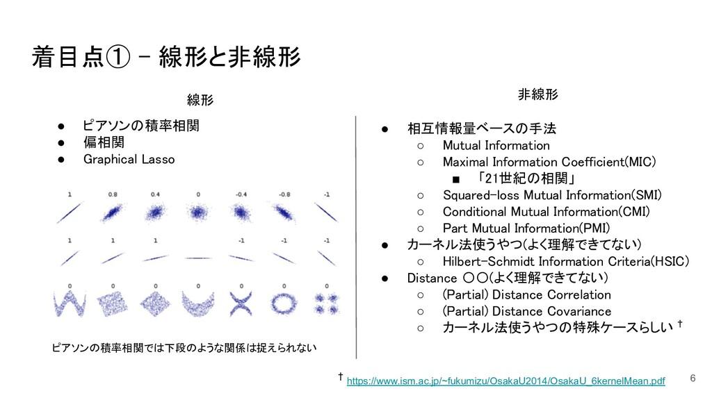 着目点① - 線形と非線形 6 ピアソンの積率相関では下段のような関係は捉えられない  ●...