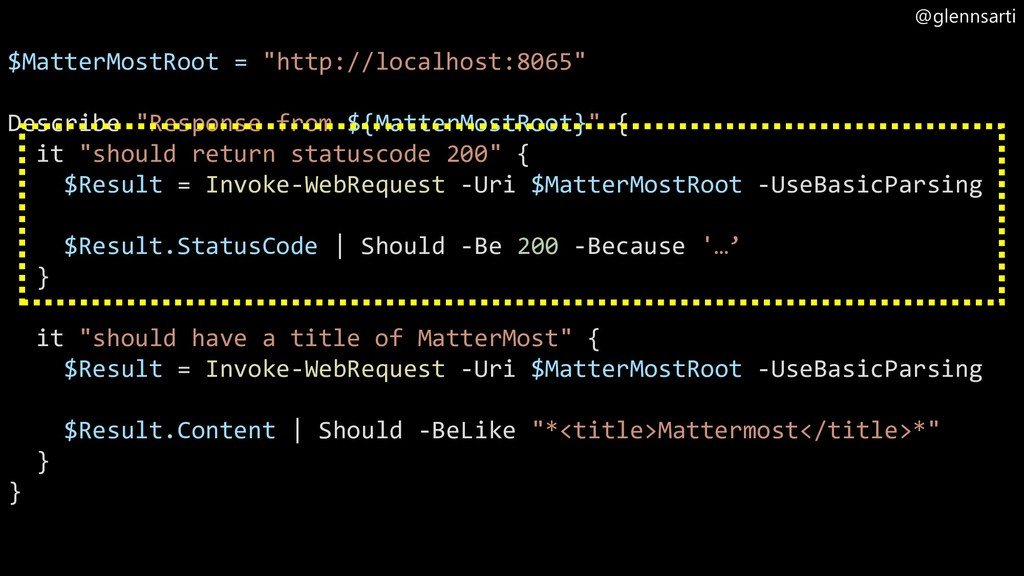 "@glennsarti $MatterMostRoot = ""http://localhost..."