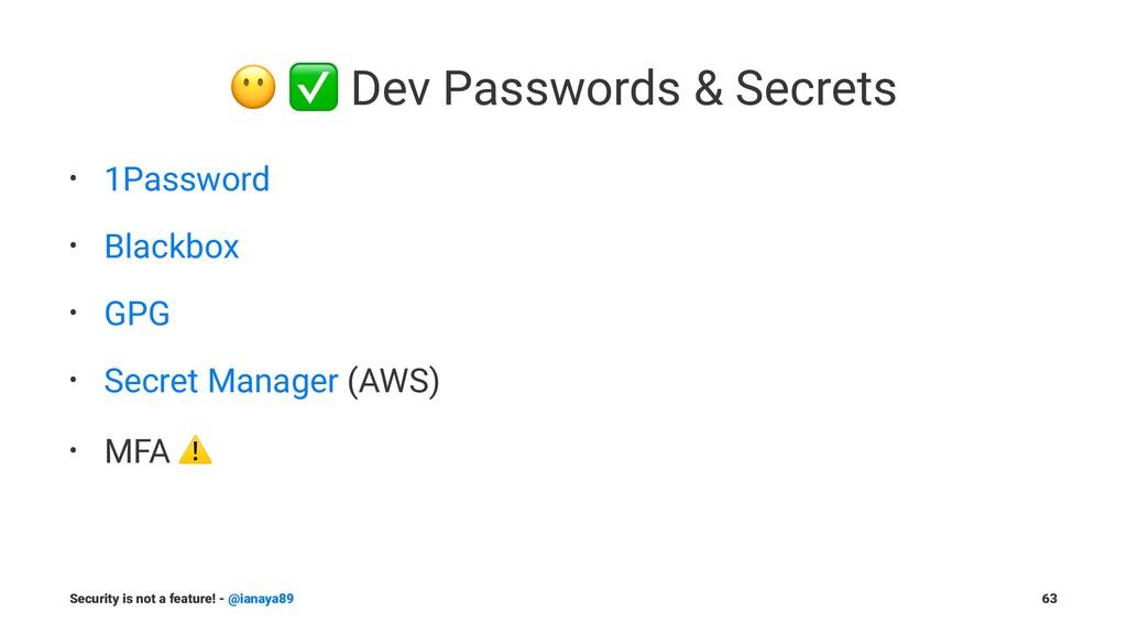! ✅ Dev Passwords & Secrets • 1Password • Black...