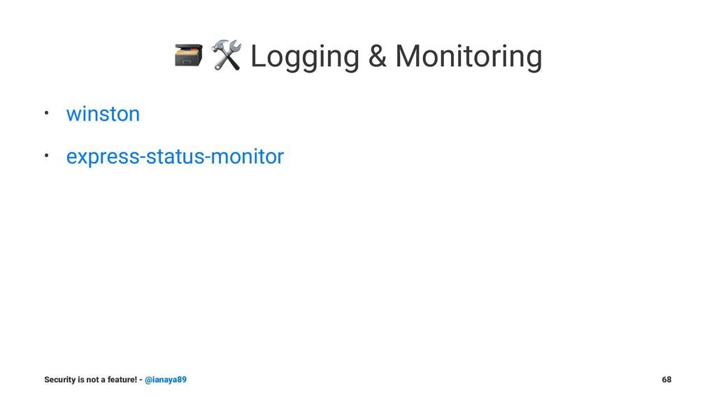 """! """" Logging & Monitoring • winston • express-st..."""