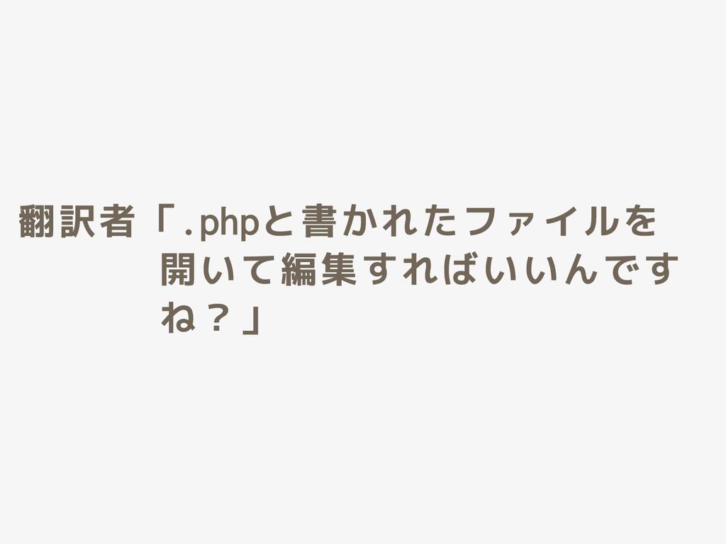 翻訳者「.phpと書かれたファイルを 開いて編集すればいいんです ね?」