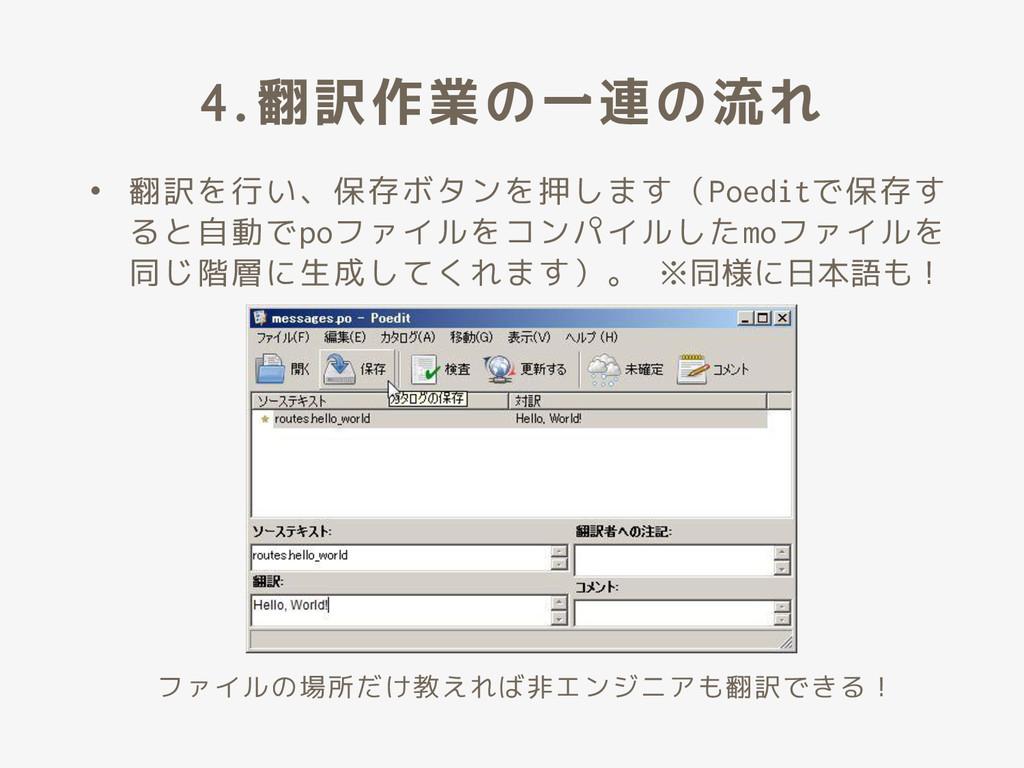 4.翻訳作業の一連の流れ • 翻訳を行い、保存ボタンを押します(Poeditで保存す ると自動...