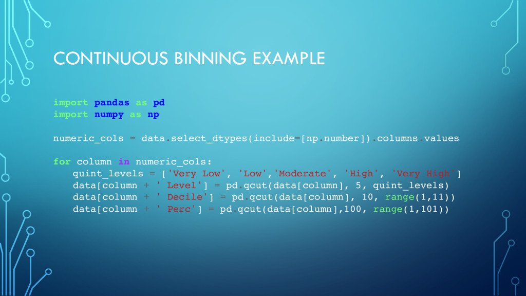 CONTINUOUS BINNING EXAMPLE import pandas as pd ...