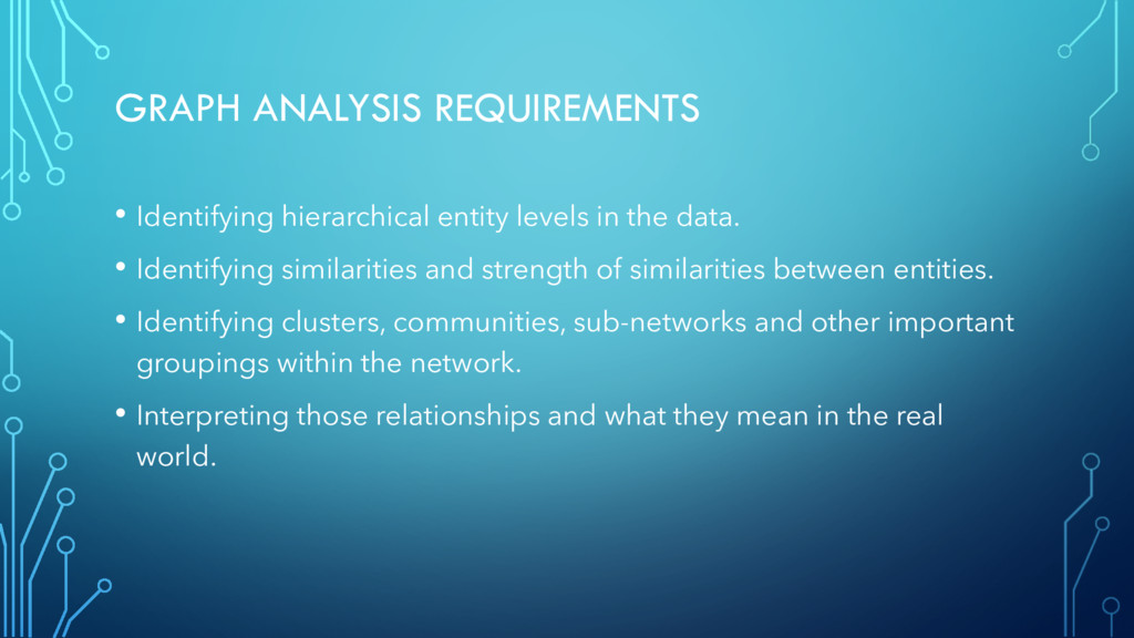 GRAPH ANALYSIS REQUIREMENTS • Identifying hiera...