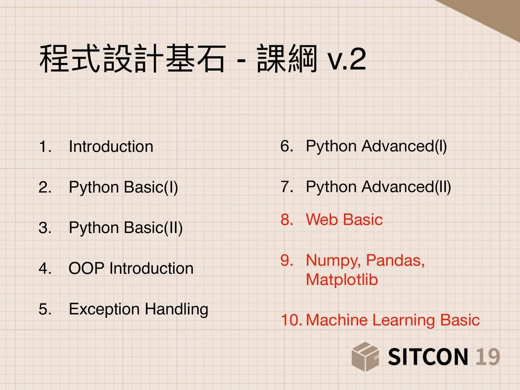 6. Python Advanced(I)  7. Python Advanced(II)  ...