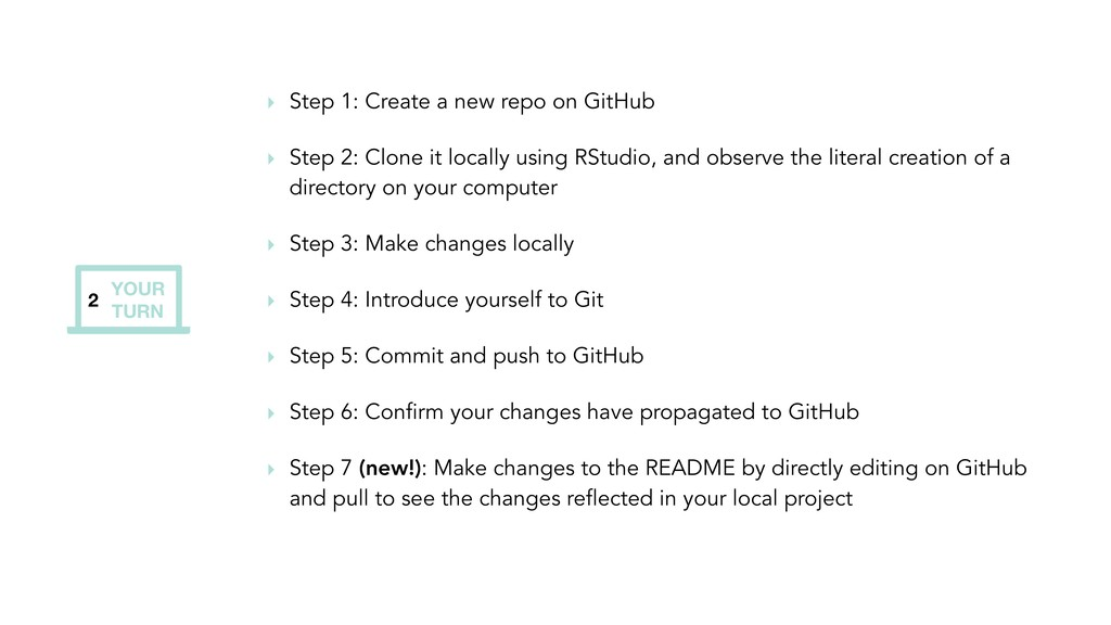 YOUR TURN 2 ‣ Step 1: Create a new repo on GitH...