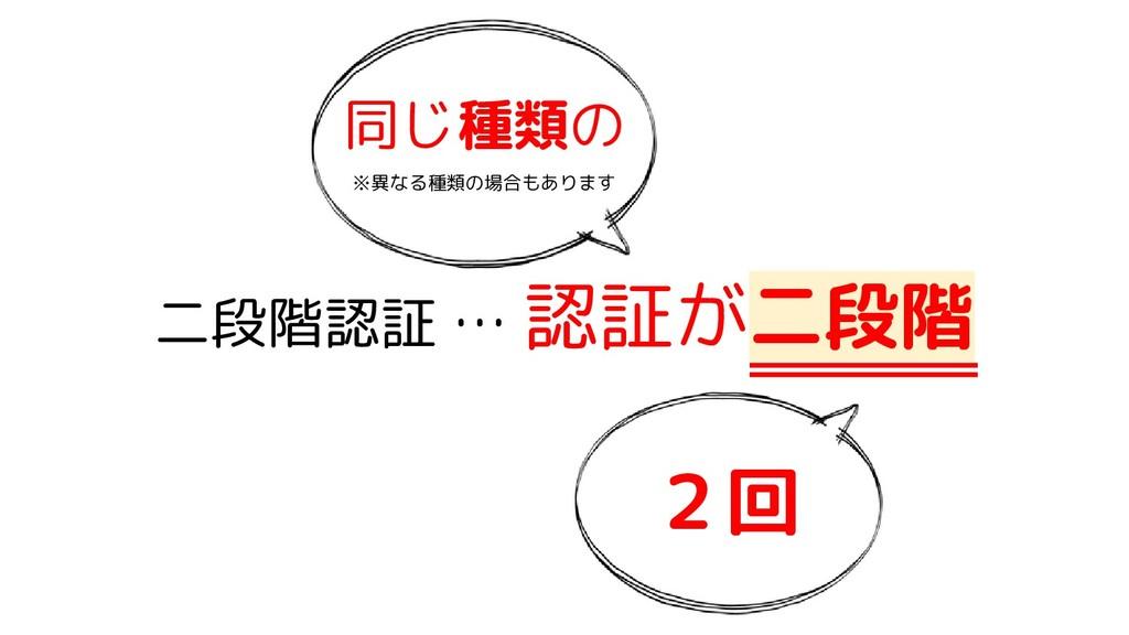 二段階認証 … 認証が二段階 同じ種類の ※異なる種類の場合もあります 2回