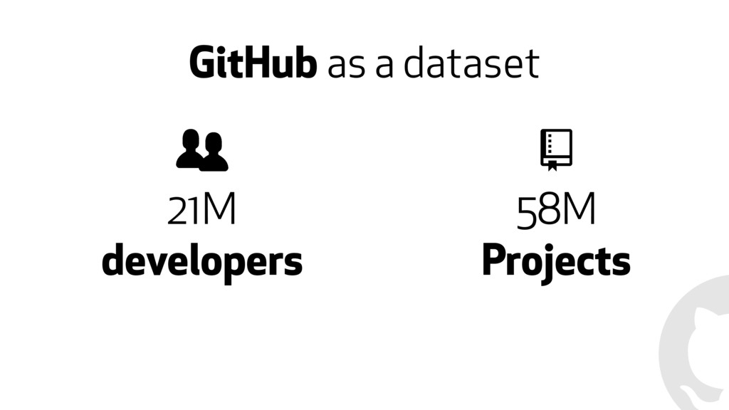GitHub as a dataset 21M developers 58M Projects