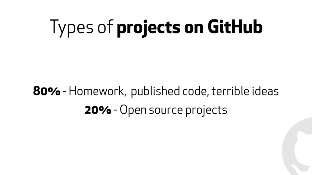 Types of projects on GitHub 80% - Homework, pub...