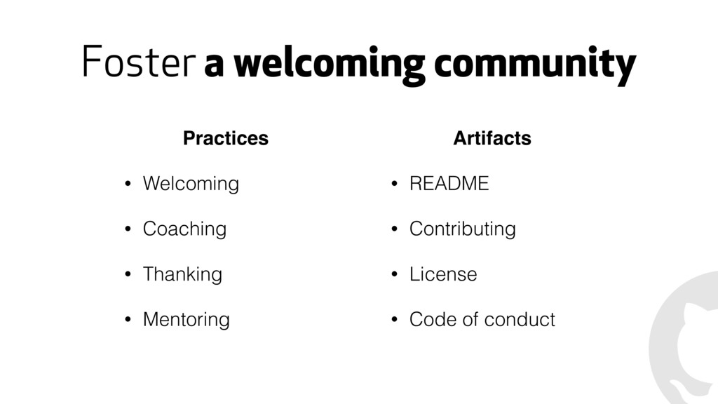 Foster a welcoming community Artifacts • README...