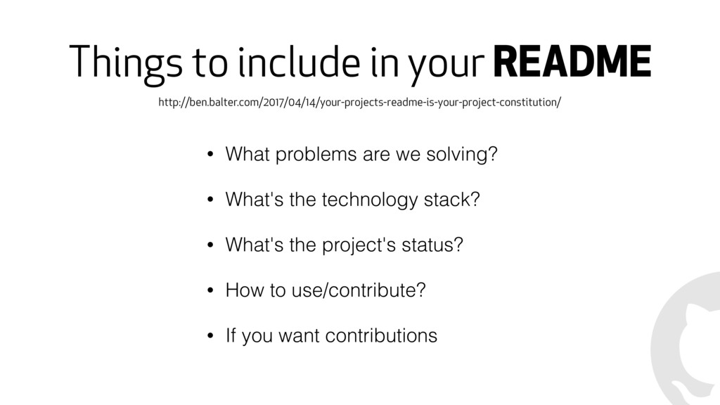 Things to include in your README • What problem...