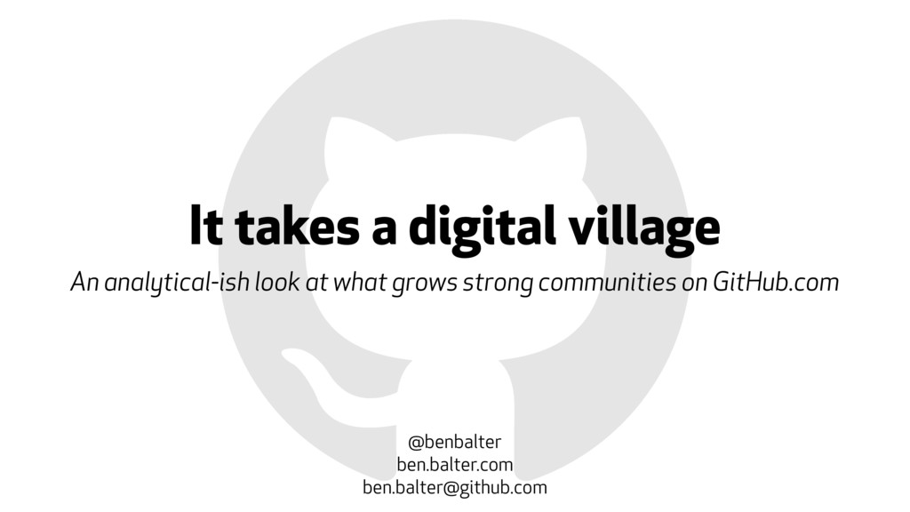 It takes a digital village An analytical-ish lo...