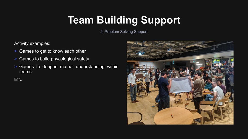 Team Building Support Activity examples: > Game...