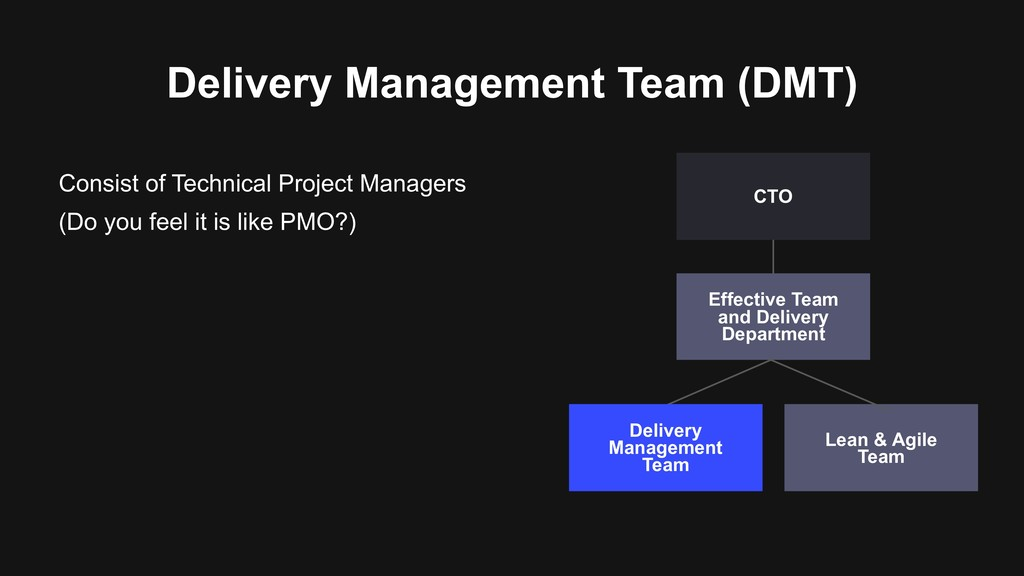 Delivery Management Team (DMT) Consist of Techn...
