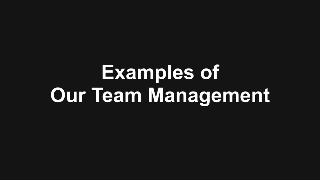 Examples of Our Team Management
