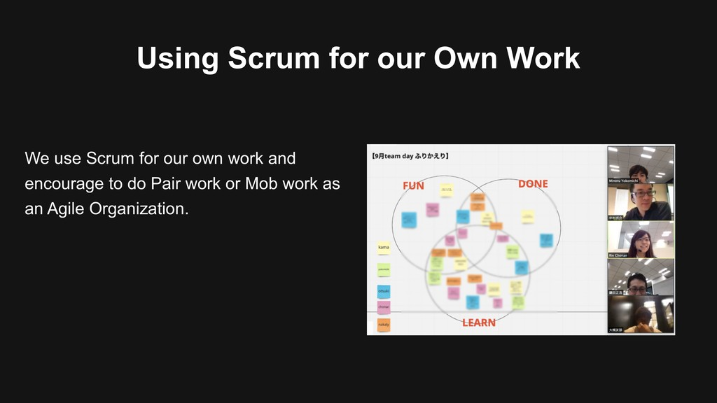 Using Scrum for our Own Work We use Scrum for o...