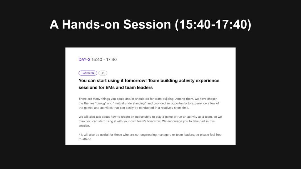 A Hands-on Session (15:40-17:40)