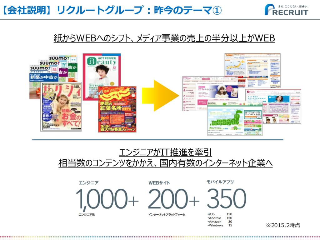 紙からWEBへのシフト、メディア事業の売上の半分以上がWEB 【会社説明】リクルートグループ:...