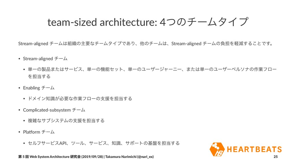 team-sized architecture: 4ͭͷνʔϜλΠϓ Stream-align...