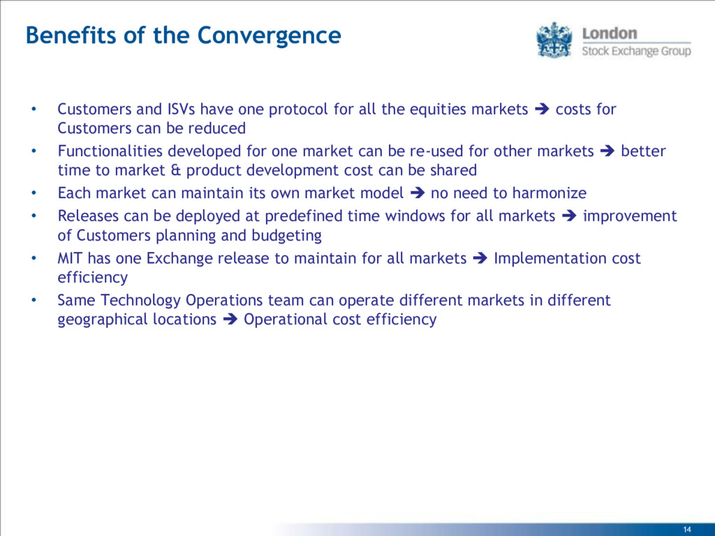 14 Benefits of the Convergence • Customers and ...