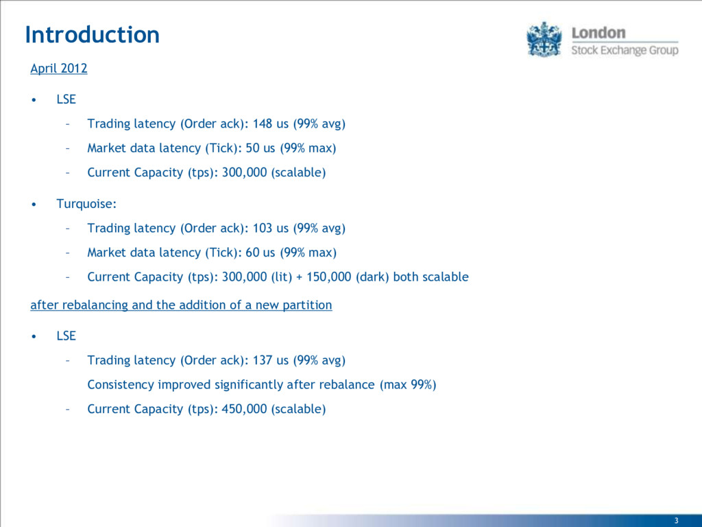 3 Introduction April 2012 • LSE – Trading laten...