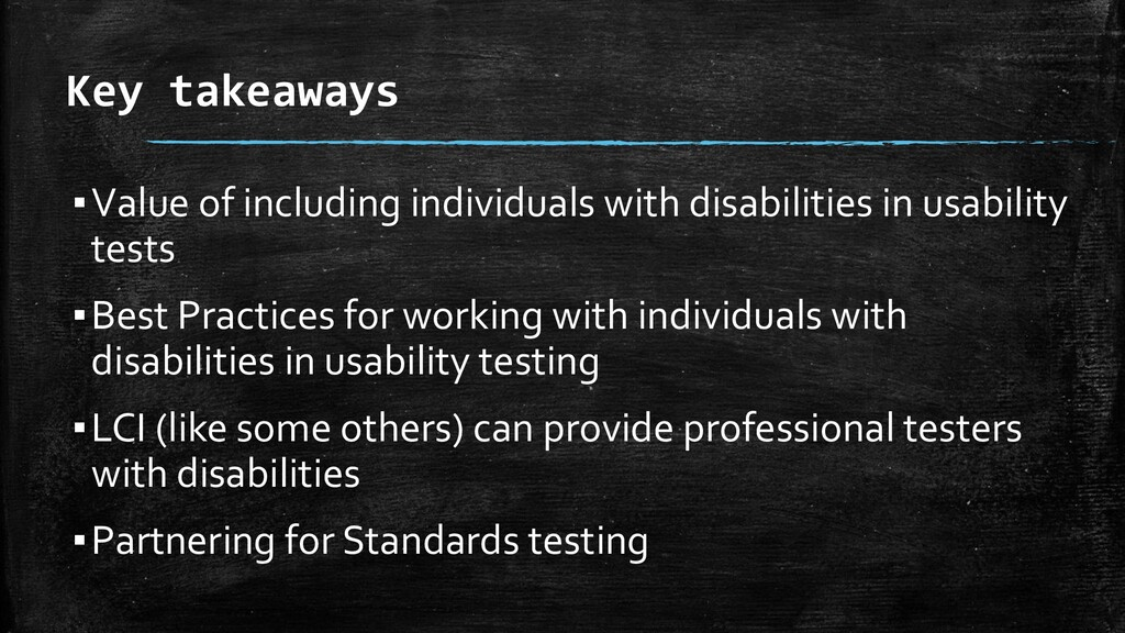 Key takeaways ▪Value of including individuals w...