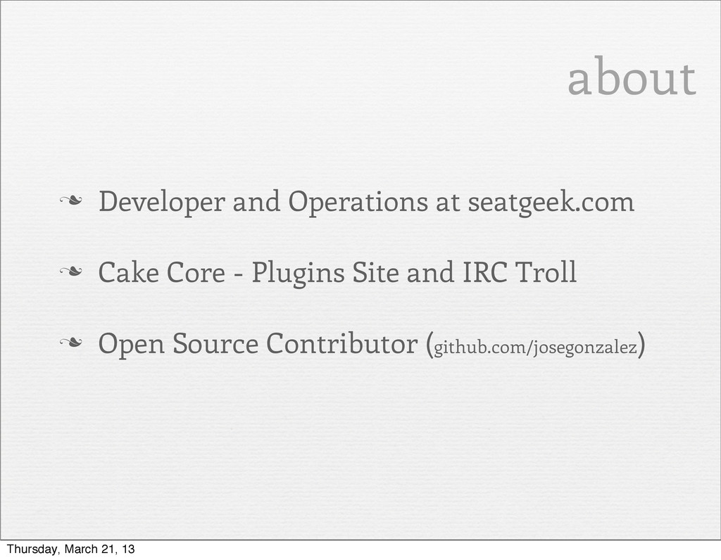 about n Developer and Operations at seatgeek.c...