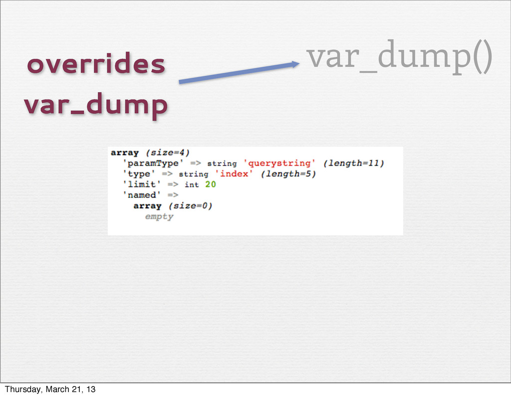 overrides var_dump var_dump() Thursday, March 2...
