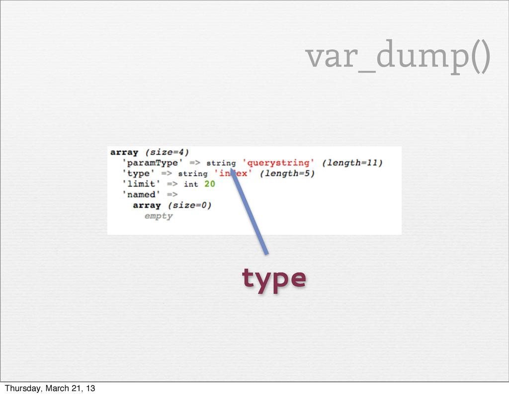 type var_dump() Thursday, March 21, 13