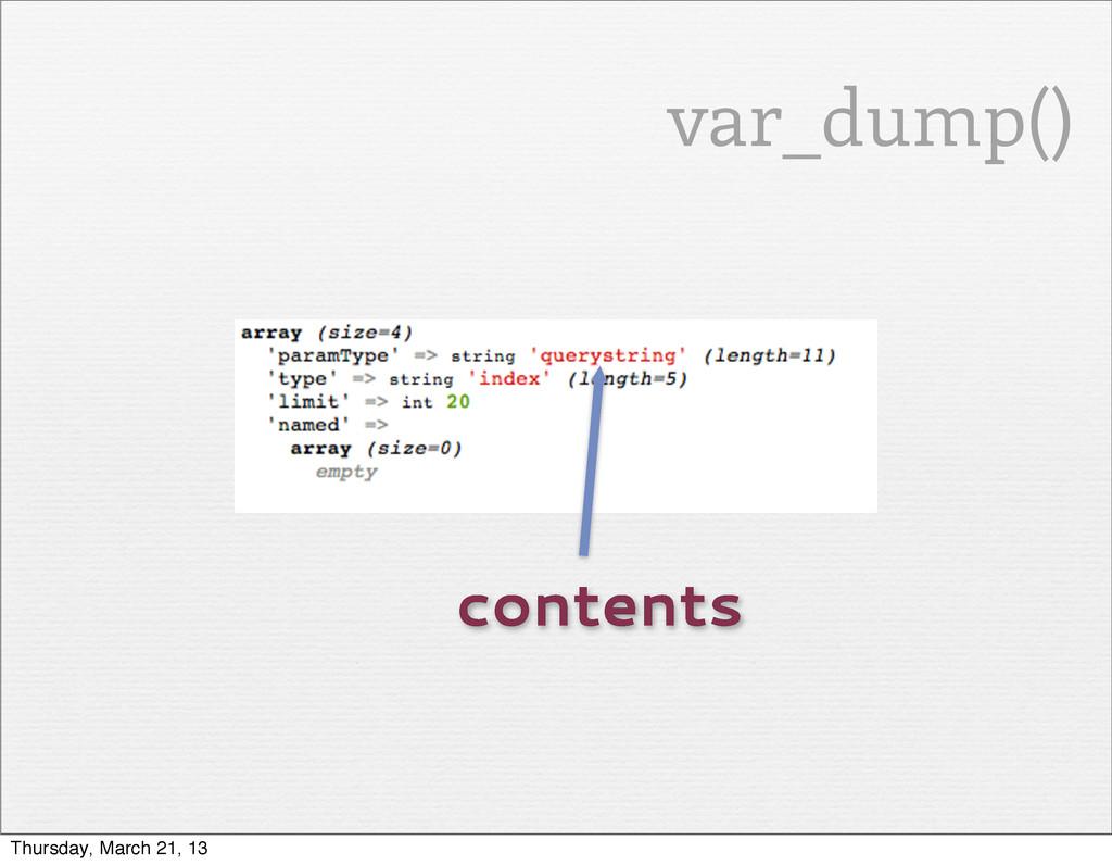 contents var_dump() Thursday, March 21, 13