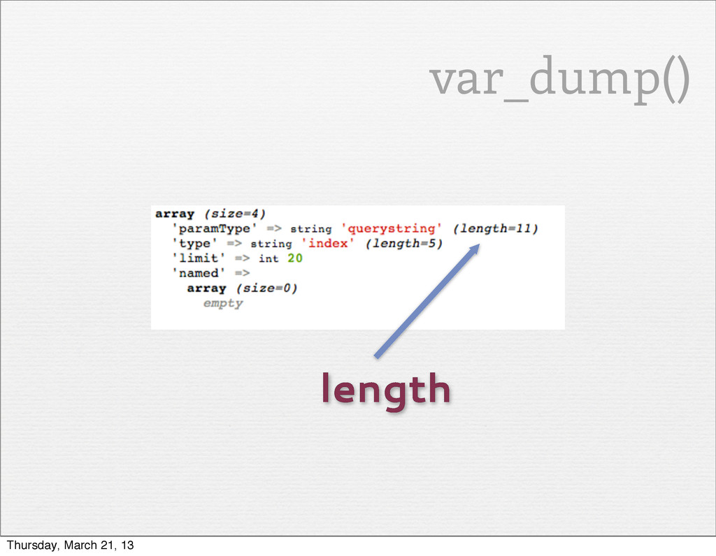 length var_dump() Thursday, March 21, 13
