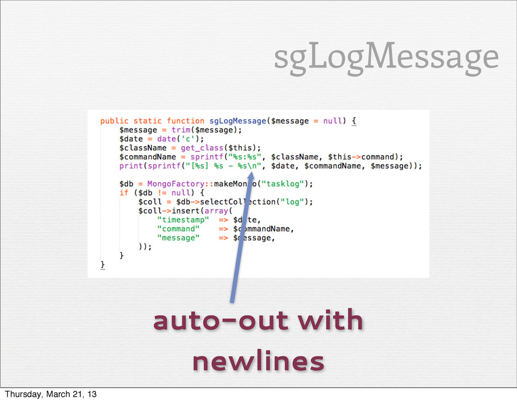 auto-out with newlines sgLogMessage Thursday, M...