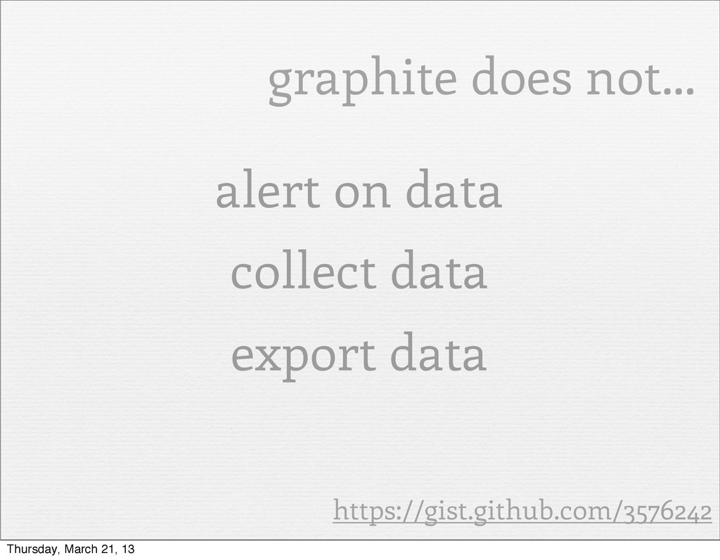 graphite does not... alert on data collect data...