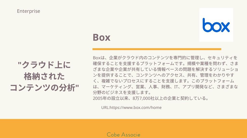 モールソン&フラー 築2020 Box Box は、 業がクラウド内のコンテンツを専⾨的に 理...