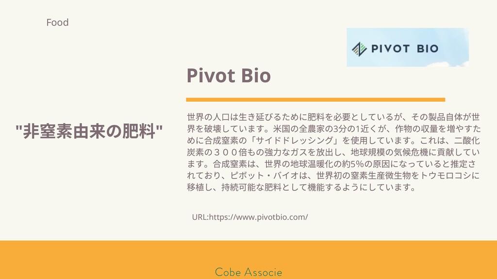 モールソン&フラー 築2020 Pivot Bio 界の ⼝は⽣き びるために肥料を必 として...
