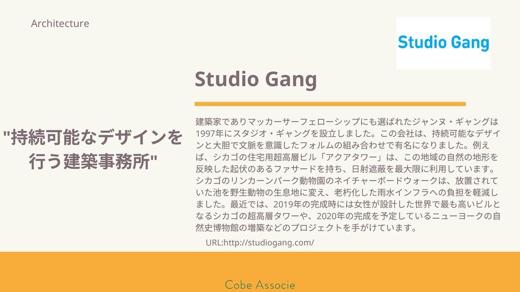 Studio Gang 築 でありマッカーサーフェローシップにも ばれたジャンヌ・ギャングは ...