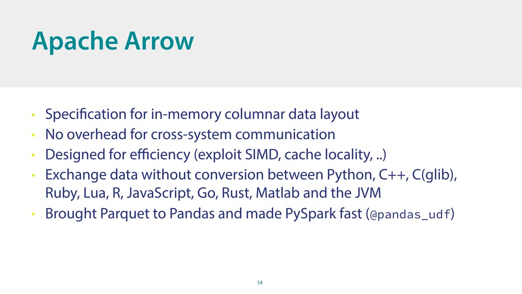 14 Apache Arrow • Specification for in-memory c...