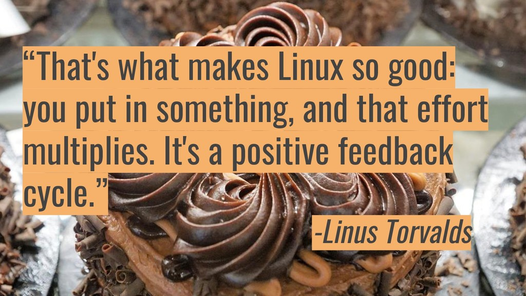 """""""That's what makes Linux so good: you put in so..."""