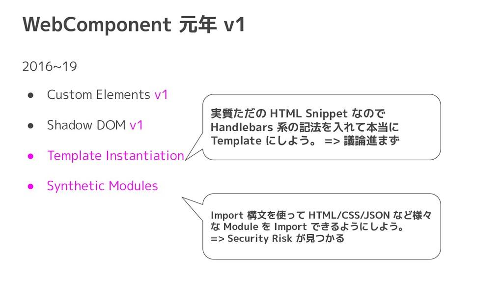 WebComponent 元年 v1 2016~19 ● Custom Elements v1...