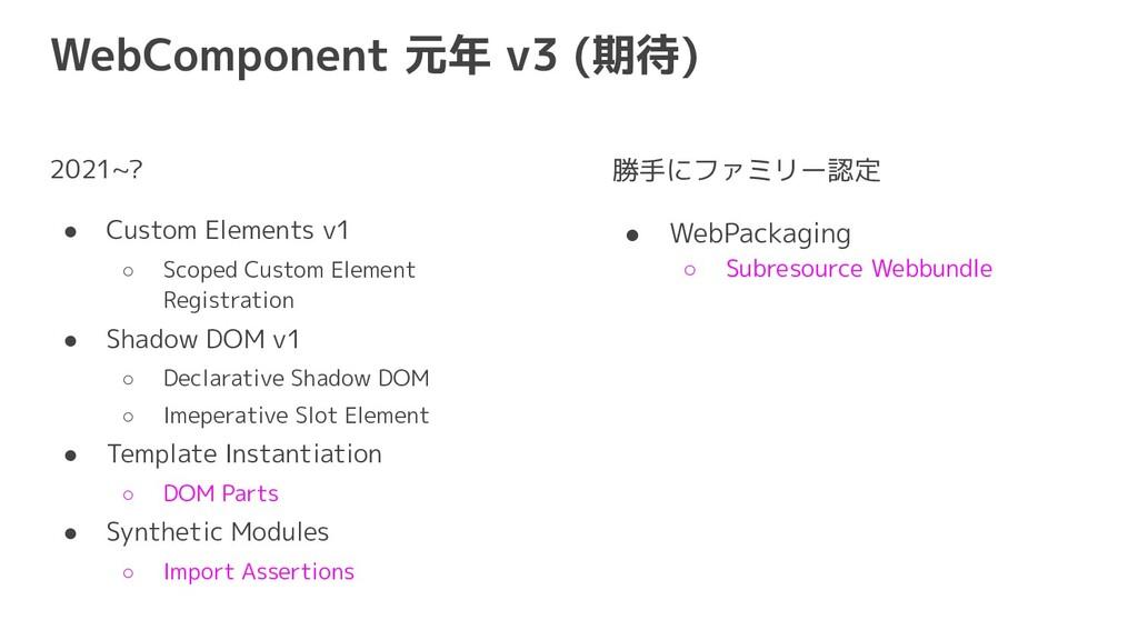 WebComponent 元年 v3 (期待) 2021~? ● Custom Element...