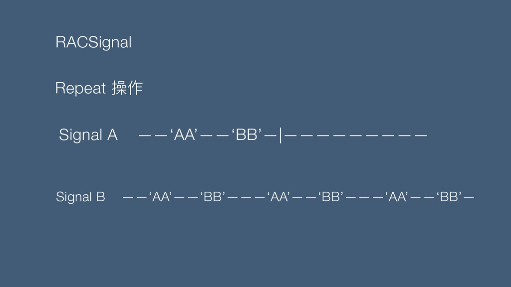 RACSignal Repeat 操作 Signal A ——'AA'——'BB'—|————...