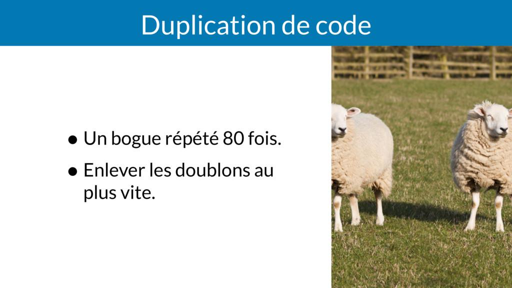 Duplication de code • Un bogue répété 80 fois. ...